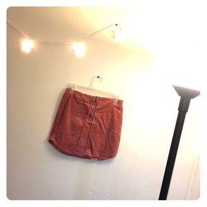 Salmon/Pink/ mauve suede mini skirt